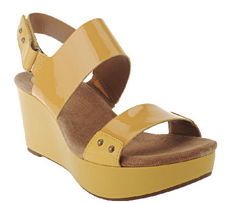 Clarks Artisan Patent Leather Wedges with Backstrap - Caslynn Dez