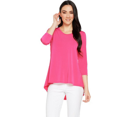 Susan Graver Liquid Knit 3/4 Sleeve U-Neck Top