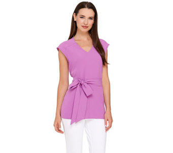 George Simonton Cap Sleeve Tie Waist Top with Shoulder Zip Detail - A265410