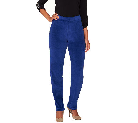 """As Is"" Susan Graver Velour Pull-On Straight Leg Pants-Petite"