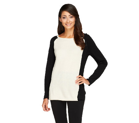 """As Is"" Susan Graver Plush Knit Bateau Neck Colorblock Sweater"