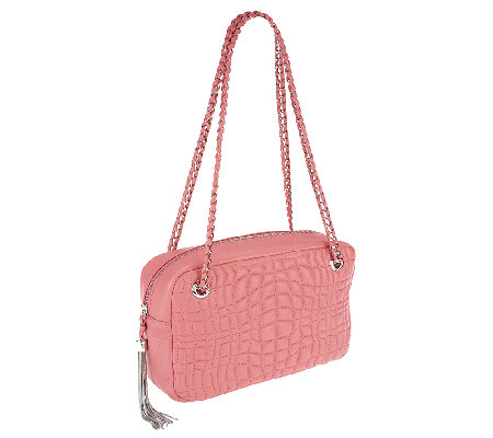 """As Is"" Aimee Kestenberg Pebble Leather Rose Quilted Shoulder Bag"