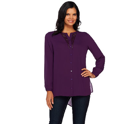 Susan Graver Artisan Feather Weave Shirt with Embellishment
