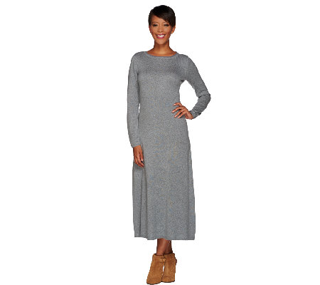 H by Halston Silk-Cashmere Blend Midi Sweater Dress
