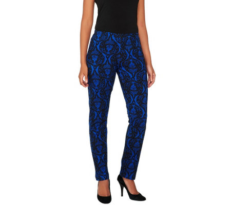 Women with Control Petite Brocade Print Slim Leg Pants