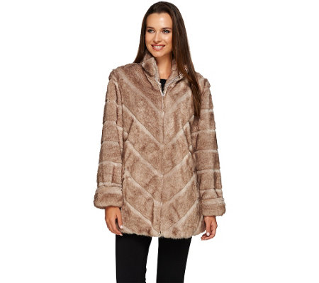 Dennis Basso Platinum Collection Grooved Faux Mink Coat