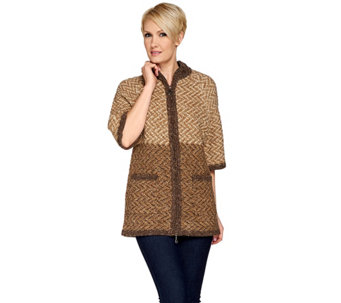 Aran Craft Wool Elbow Sleeve Zip Front Cardigan - A271210