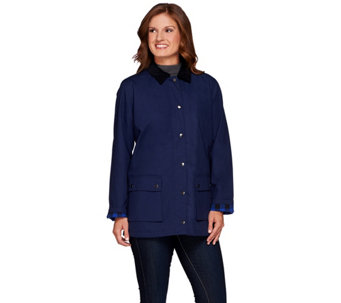 Denim & Co. Water Resistant Utility Jacket with Flannel Trim - A271410