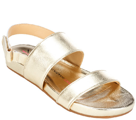 """As Is"" Isaac Mizrahi Live! Double Strap Leather Sandals"