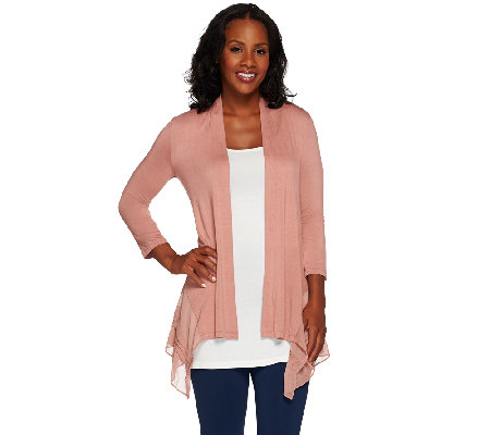 """As Is"" LOGO by Lori Goldstein Regular Knit Cardigan with Pleated Chiffon"