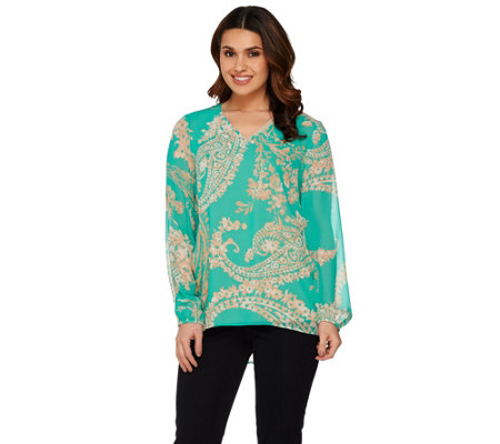 Susan Graver Printed Sheer Chiffon Top w/ Liquid Knit Tank Set