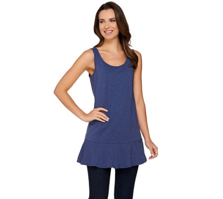 Studio By Denim & Co. Scoop Neck Peplum Knit Tunic Tank
