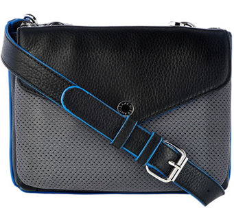 Isaac Mizrahi Live! SOHO Pebble Leather Crossbody w/ Mesh Detail - A276210