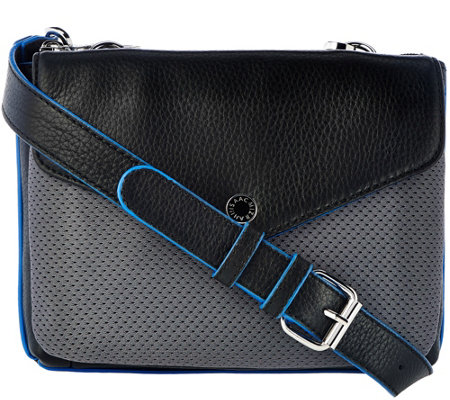 Isaac Mizrahi Live! SOHO Pebble Leather Crossbody w/ Mesh Detail