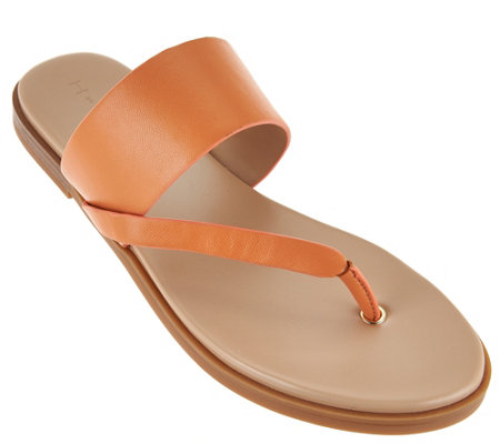 H by Halston Leather Sandals with Wooden Accent - Addie