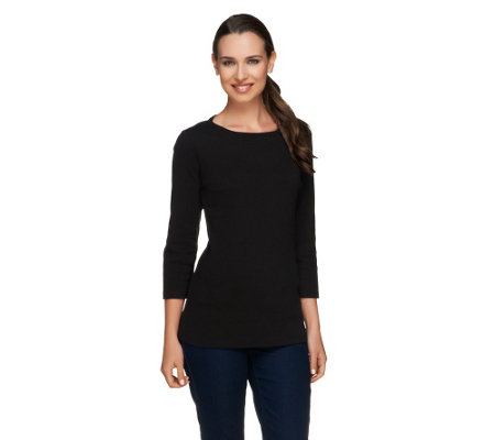 """As Is"" Liz Claiborne New York Essentials 3/4 Sleeve Ribbed T-Shirt"