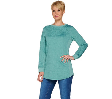 Isaac Mizrahi Live! Textured Scroll Jacquard Knit Pullover Tunic