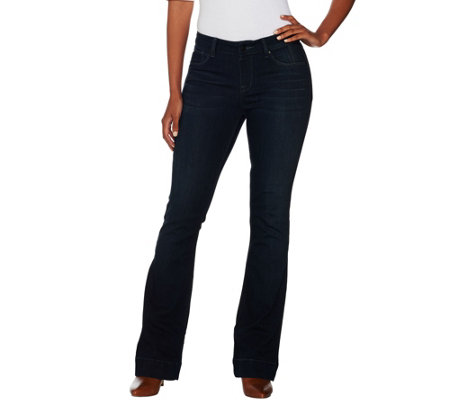 Hot in Hollywood Petite Silky Denim Flare Pull-On Jeans