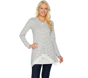 LOGO by Lori Goldstein Waffle Knit Cardigan and Tank Twin Set - A279410