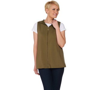 Denim & Co. Active Sleeveless Zip Front Vest with Hood - A279910