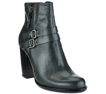 """As Is"" G.I.L.I Leather Ankle Boots with Buckles - Addison - A281010"