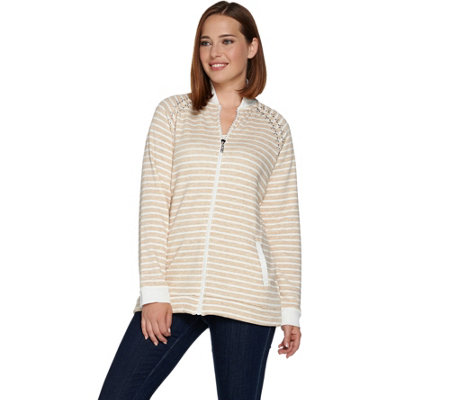 Quacker Factory Striped Zip Front Jacket