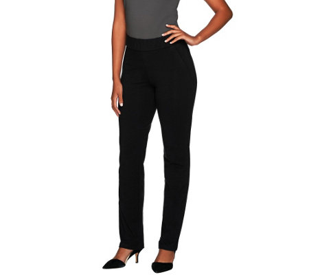 """As Is"" Women with Control Petite Ruched Waist Pants w/ Faux Pockets"