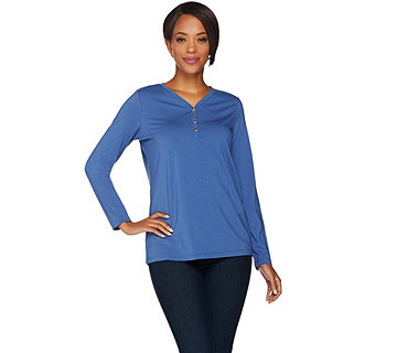 Susan Graver Weekend Stretch Cotton Modal Top with Novelty Buttons - A282110