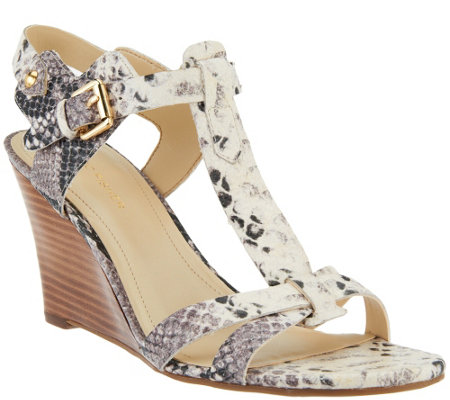 """As Is"" Marc Fisher Leather Wedge Sandals - Casandra"