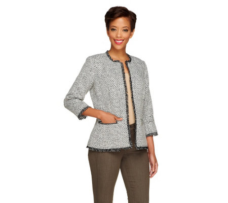 """As Is"" Joan Rivers Tweed Jacket with Pockets and 3/4 Sleeves"
