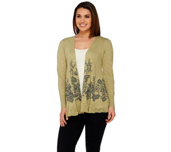 """As Is"" LOGO by Lori Goldstein Printed Cotton Linen Knit Cardigan - A285010"