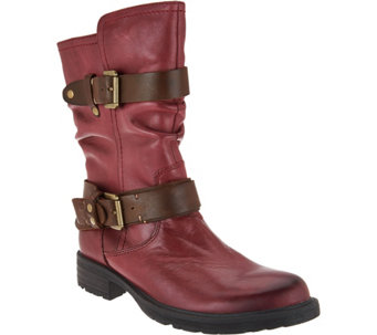 Earth Leather Mid Calf Boots w/ Buckles - Everwood - A286510