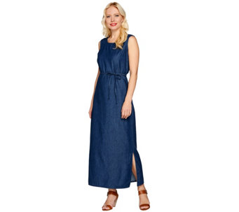 """As Is"" Denim & Co. Sleeveless Denim Tank Dress - A287210"