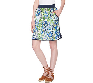 Denim & Co. Active French Terry Ikat Printed Pull-on Skort - A288710