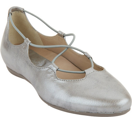 Earthies Leather Ghillie Flats - Essen