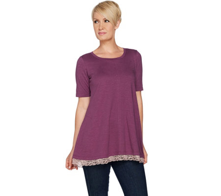 LOGO by Lori Goldstein Cotton Slub Knit Top with Lace Hem
