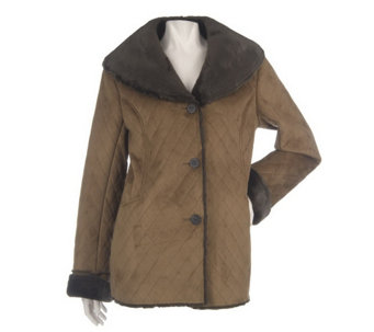 """As Is"" Dennis Basso Quilted Faux Shearling Coat with Shawl Collar - A291510"