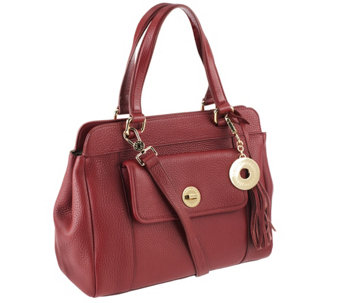 """As Is"" Isaac Mizrahi Live! Bridgehampton Leather Satchel - A292510"