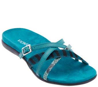 """As Is"" Vionic Orthotic Leather and Haircalf Sandals-Rhodes - A293210"