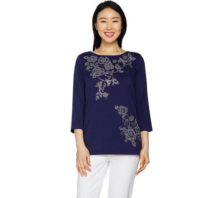 Bob Mackie Floral Sequin and Embroidered Knit Top