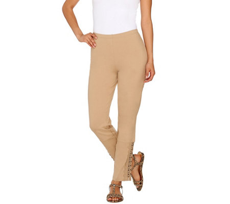 """As Is"" Women with Control Slim Leg Ankle Pants with Lace Detail"
