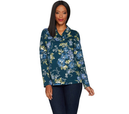 Denim & Co. Floral Print French Terry Shawl Collar Long Sleeve Top