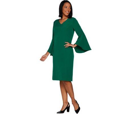 Belle by Kim Gravel V-Neck Dress with Bell Sleeves
