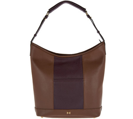 """As Is"" H by Halston Pebble Leather Color-Block Hobo Handbag"