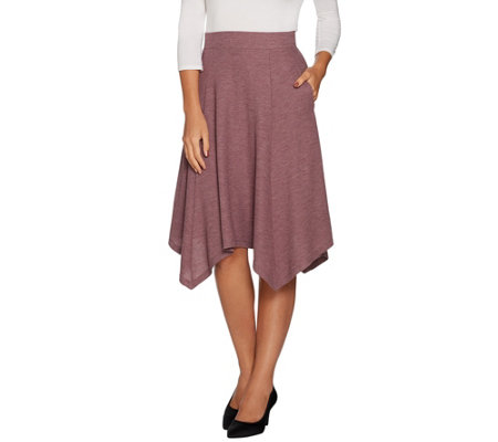 LOGO by Lori Goldstein Waffle Knit Skirt w/ Hem Detail