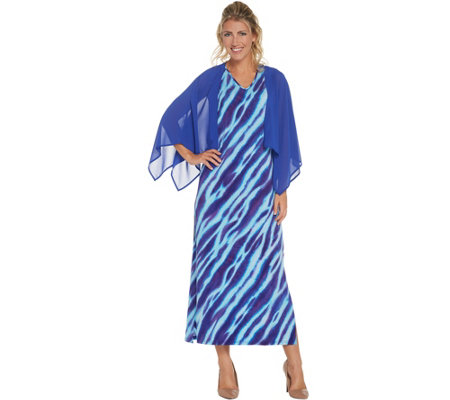 Bob Mackie's Animal Print Maxi Dress with Solid Woven Shrug