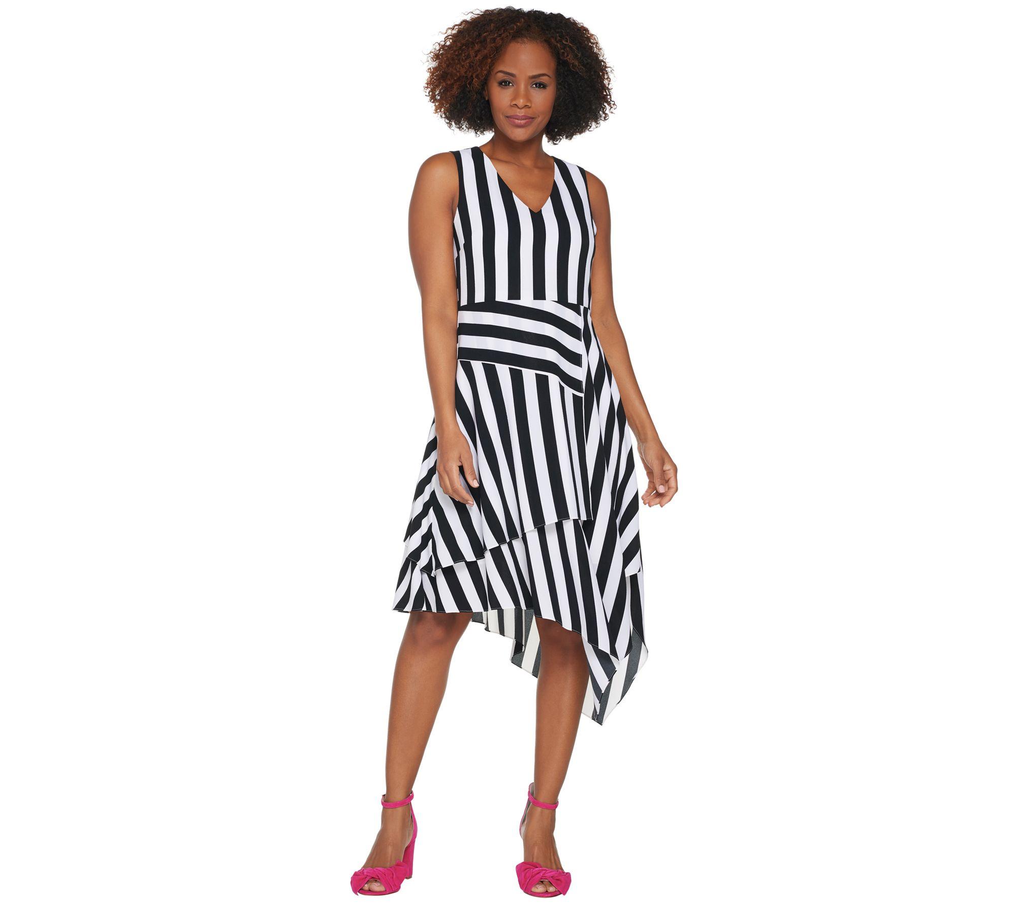 Vince Camuto Striped Dress with V Neck and Asymmetrical Hem - A306710