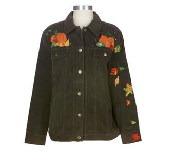 Quacker Factory Embellished Embroidered Pumpkin Corduroy Jacket - A32210