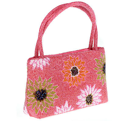 Lee Sands Double Handle Beaded Floral Handbag