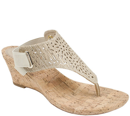 White Mountain Metallic Wedge Thong Sandals - Alise
